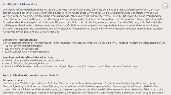 Direct Line KFZ Haftpflichtversicherung Tarife