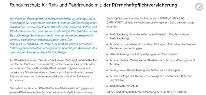 Haftpflichtkasse Darmstadt Haftpflichtversicherung für Pferde Details