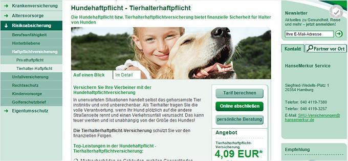 HanseMerkur Haftpflichtversicherung für Hunde