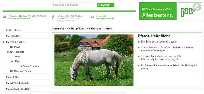 NV Versicherung Haftpflichtversicherung für Pferde Webseite