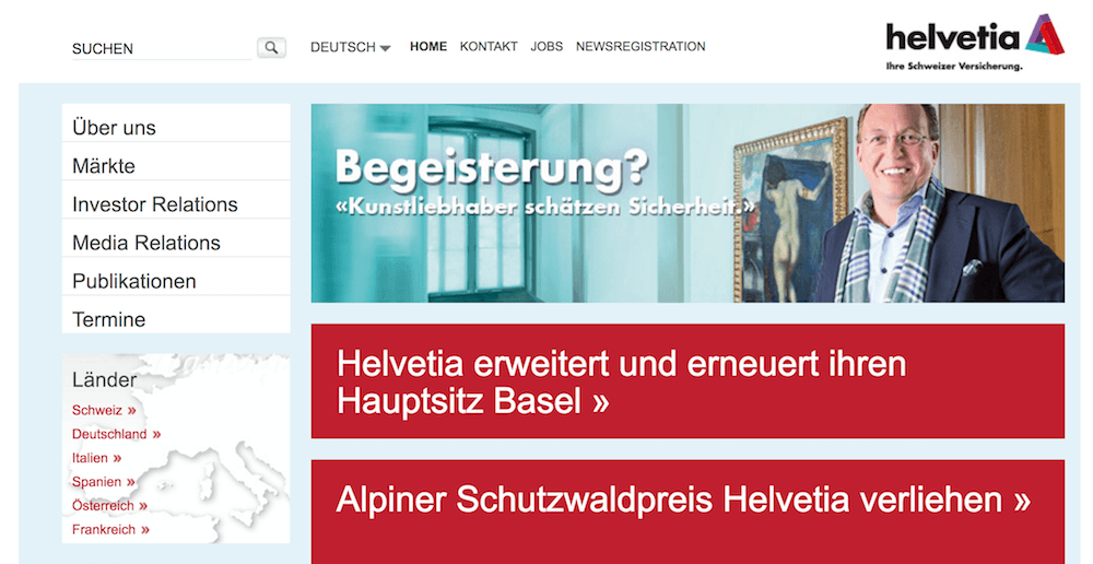 Helvetia Webseite